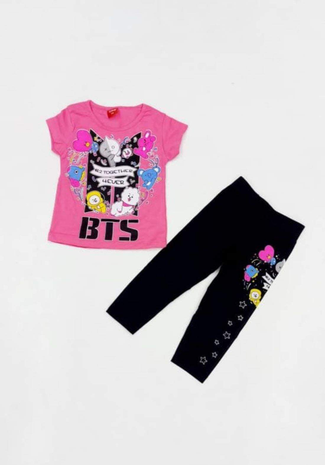 Tracksuit for girls pink  (t-shirt+pijamas) تراكسوت بناتي وردي  ,(بجامة+تيشيرت)
