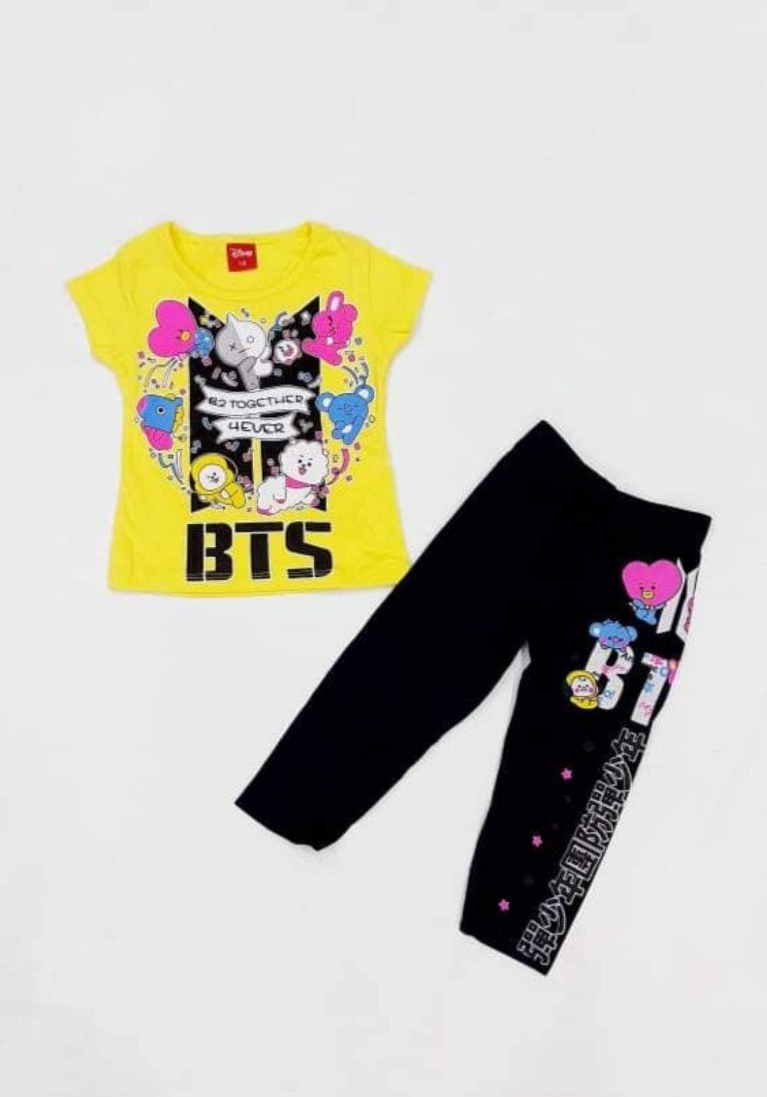 Tracksuit for girls yellow  (t-shirt+pijamas) تراكسوت بناتي اصفر (بجامة+تيشيرت)