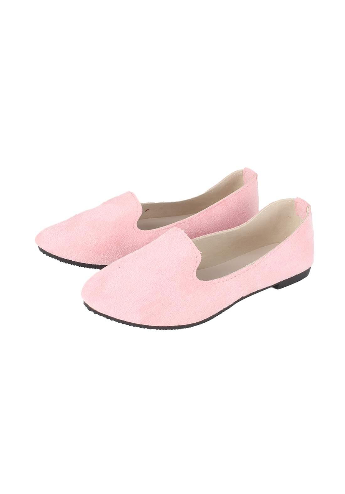 حذاء نسائي فلات وردي اللون