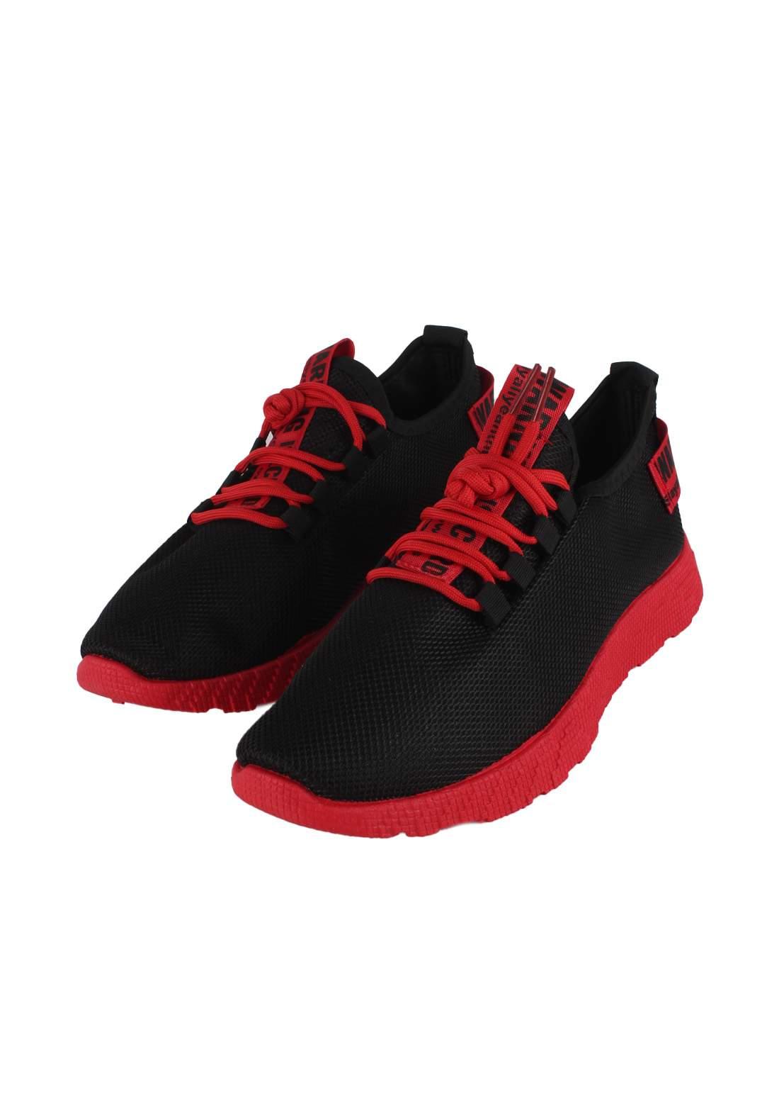 حذاء رياضي رجالي اسود واحمر اللون 771