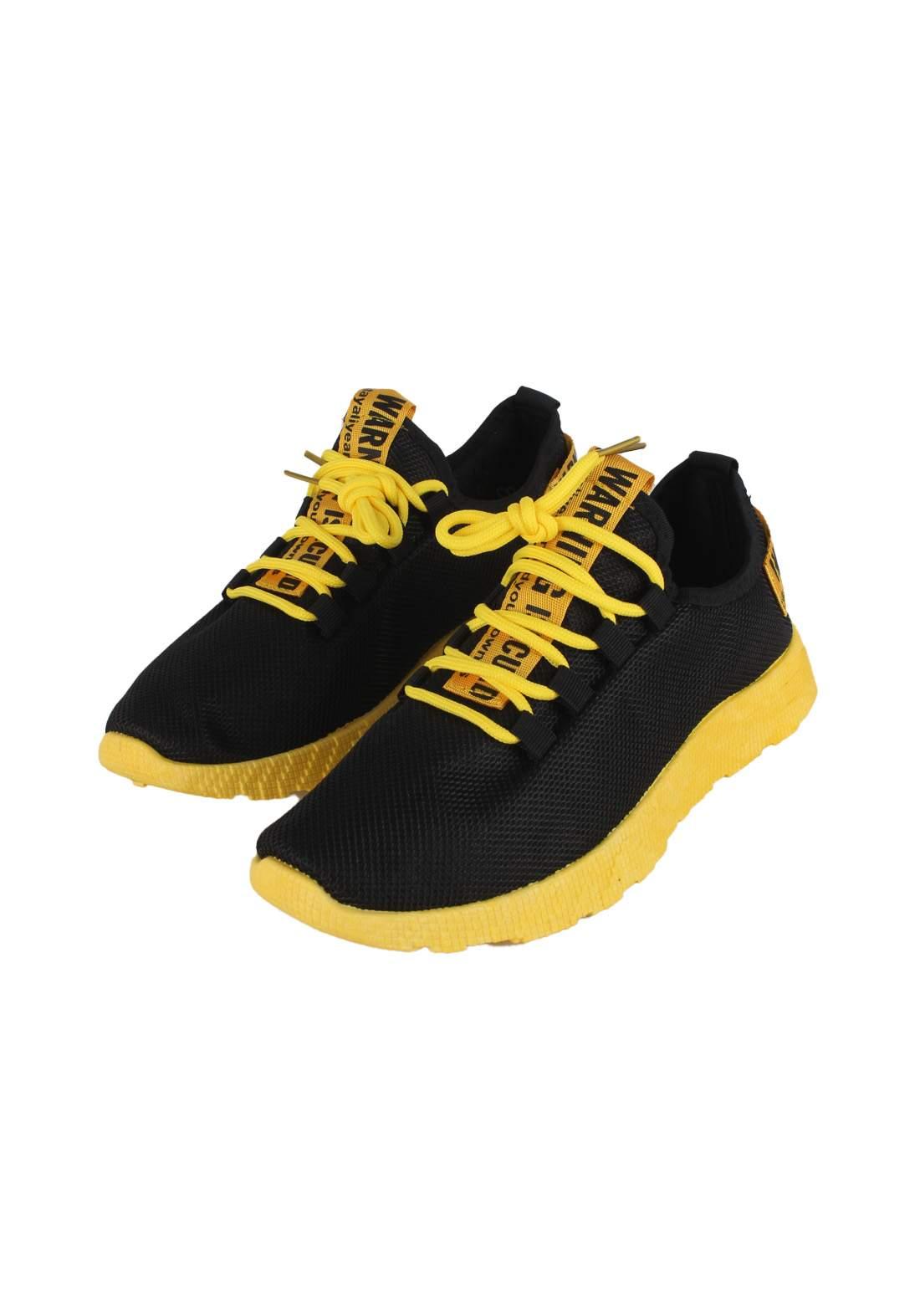 حذاء رياضي رجالي اسود و اصفر اللون 771