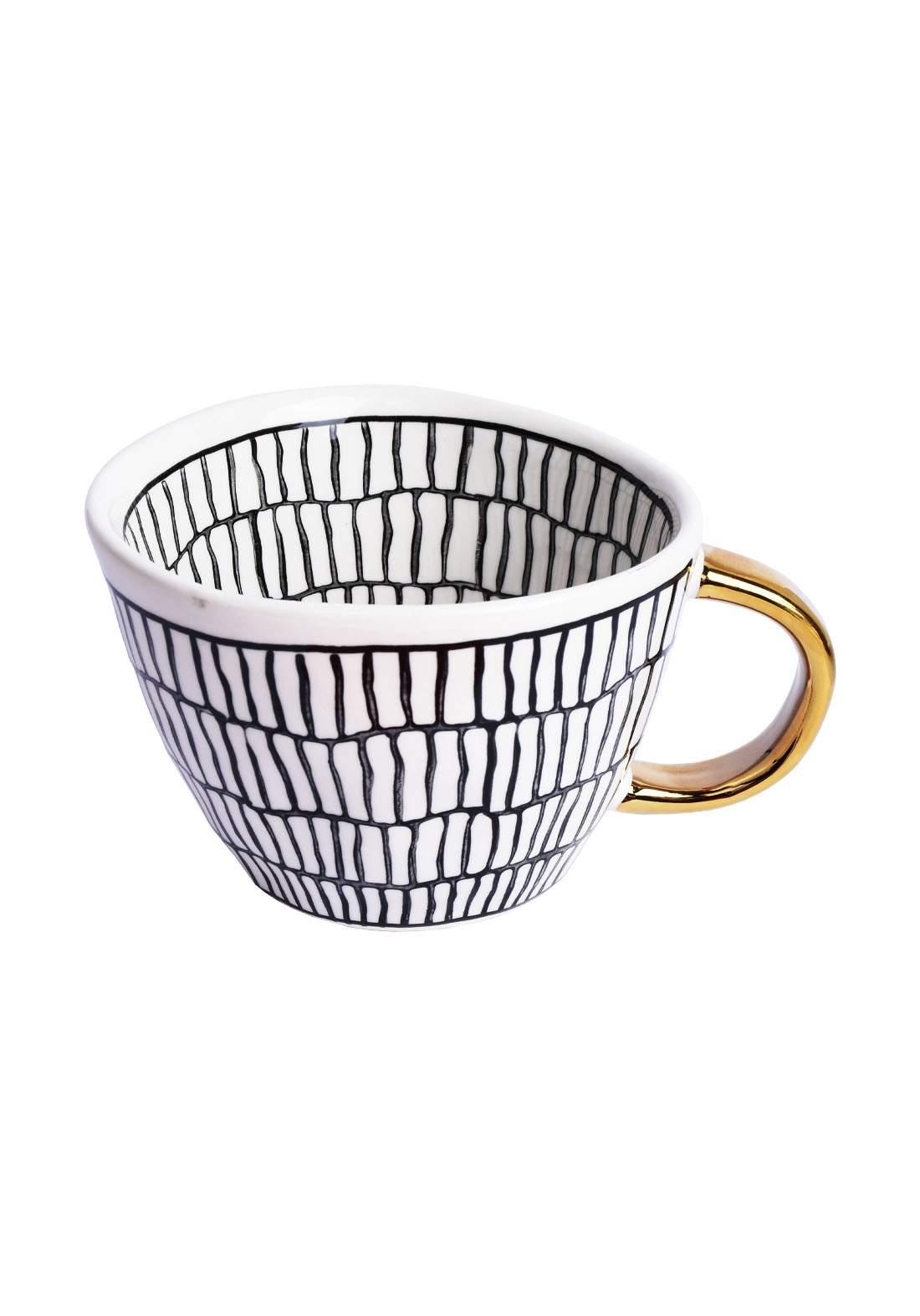 Handmade Mugs With Gold Handle كوب بمقبض ذهبي