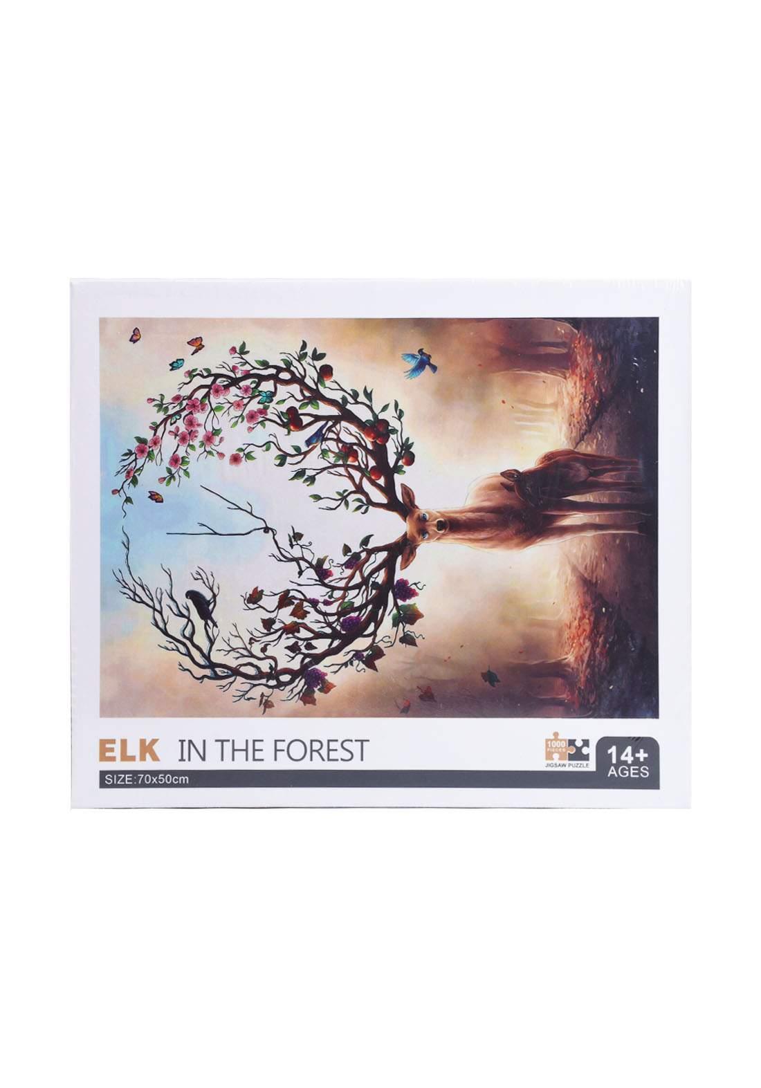 Jigsaw Puzzle Elk In The Forest 1000Pcs لعبة تركيب القطع بشكل أيل في الغابة