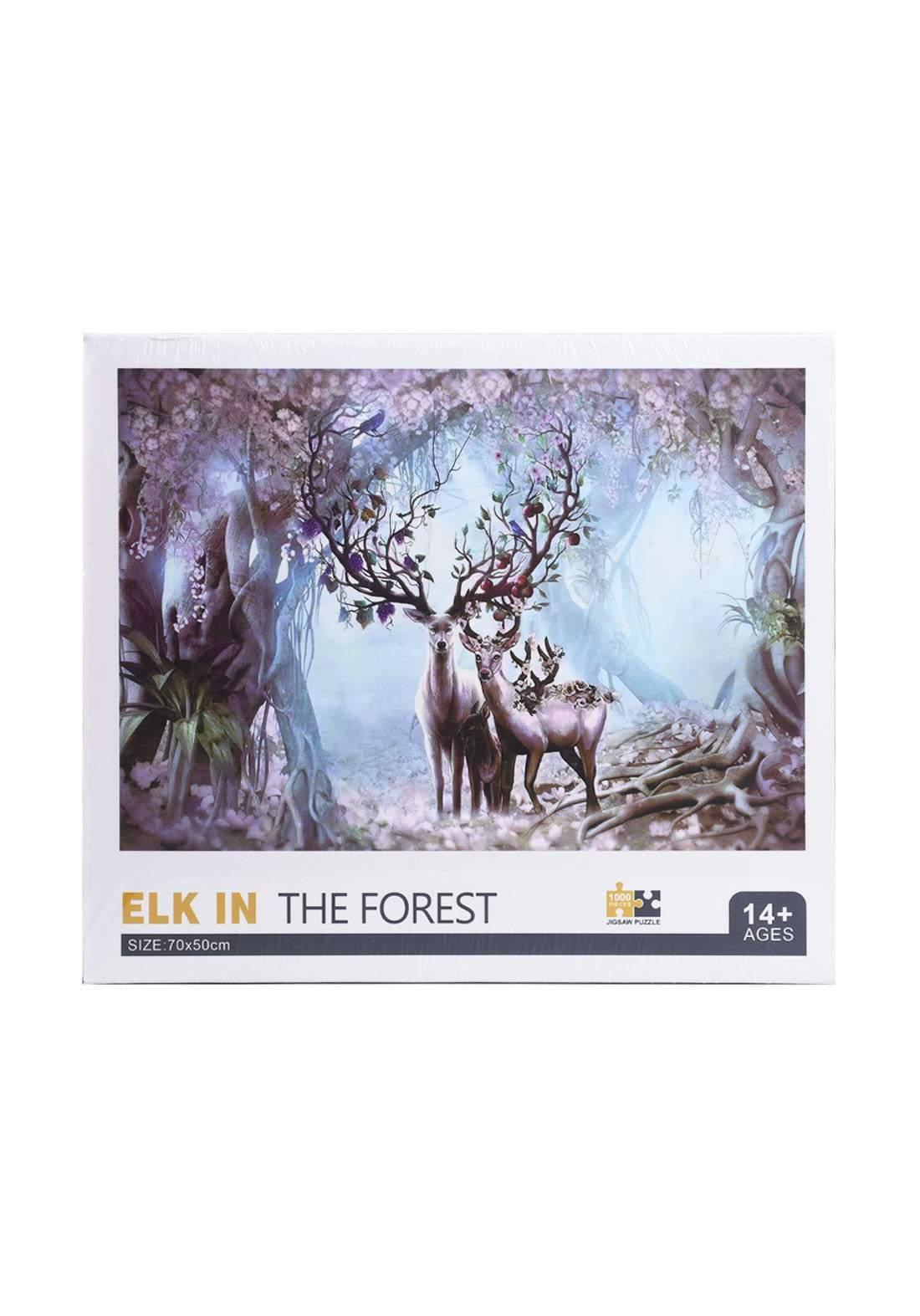 Jigsaw Puzzle Elk Tthe Forest 1000Pcs  لعبة تركيب القطع بشكل أيل الغابة