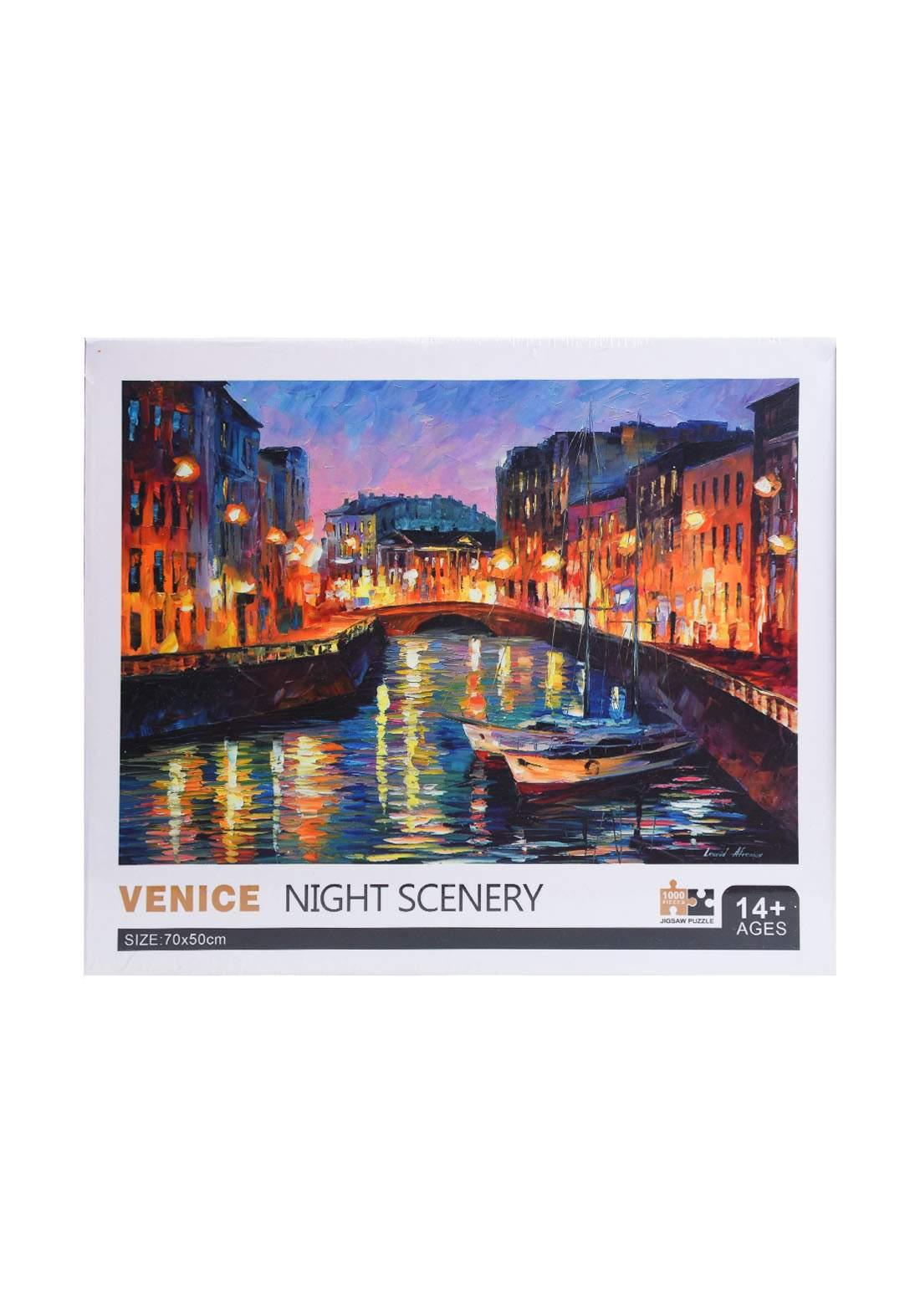 Jigsaw Puzzle Venice Night Scenery 1000Pcs لعبة تركيب القطع بشكل مشهد ليلة البندقية