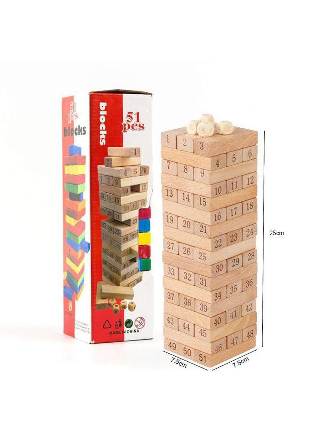 Wooden Stacking Tower Numbers Building Blocks Game Board for Kids 54 Pcs لعبة البرج الخشبي