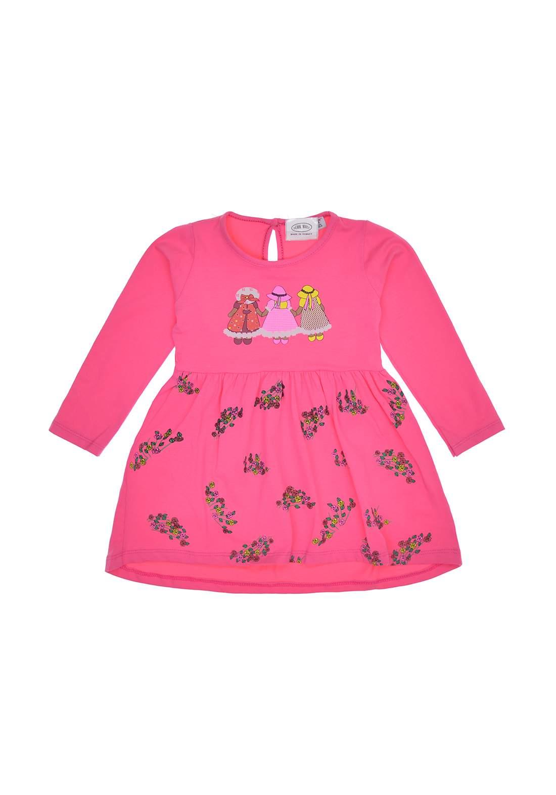 فستان بتصميم كلاسيكي وردي اللون