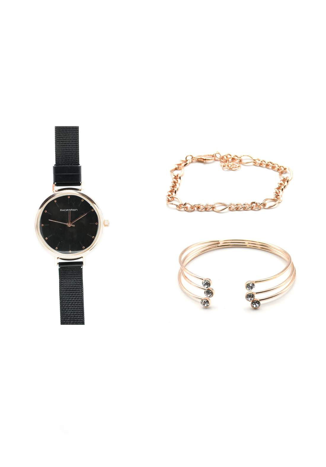 سيت ساعة نسائية سوداء اللون