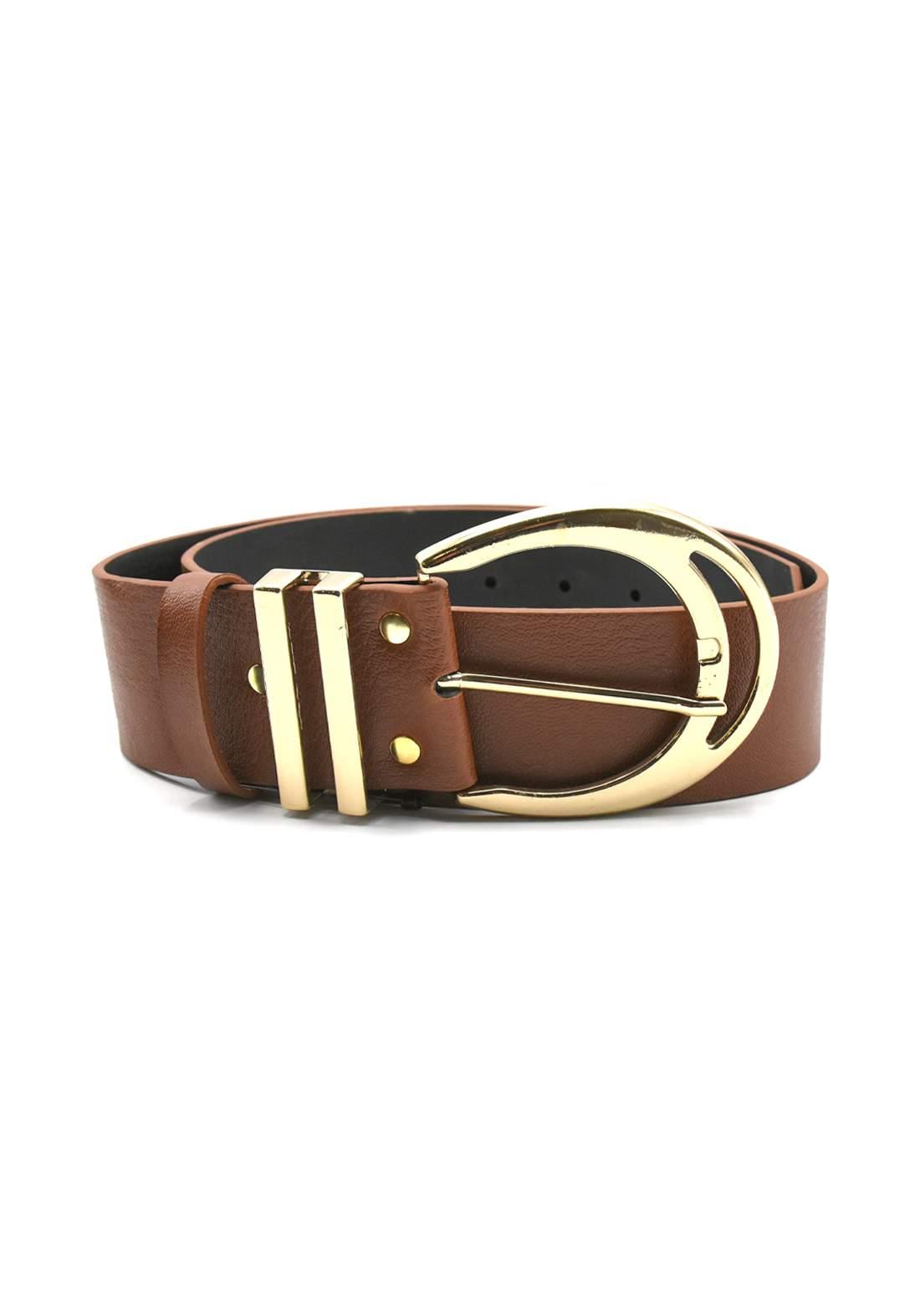حزام نسائي جلد بني اللون بأبزيم ذهبي