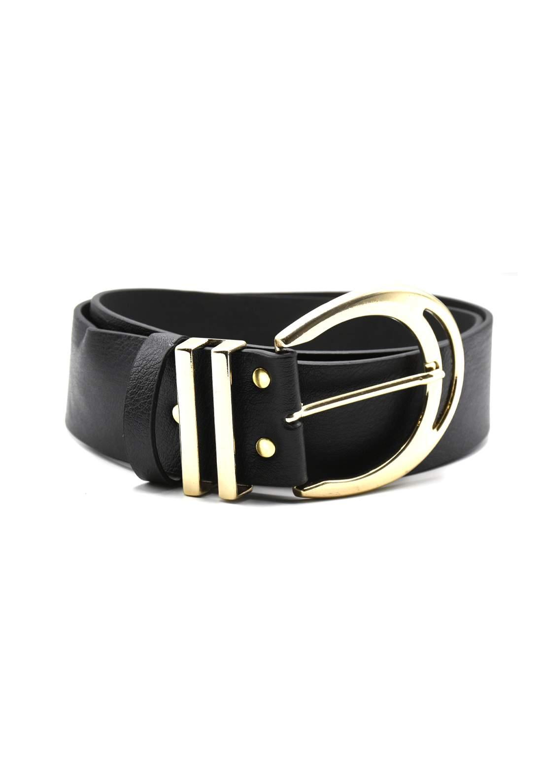 حزام نسائي جلد أسود اللون بأبزيم ذهبي116 سم