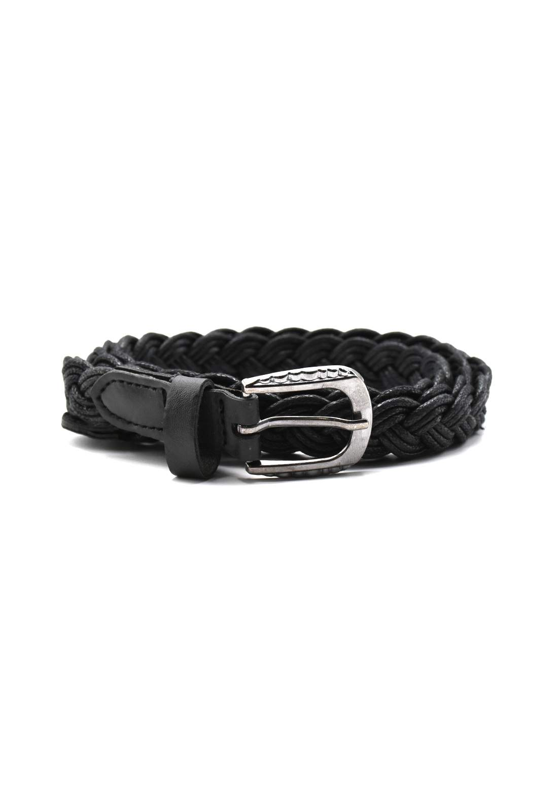 حزام نسائي جلد أسود اللون بأبزيم فضي