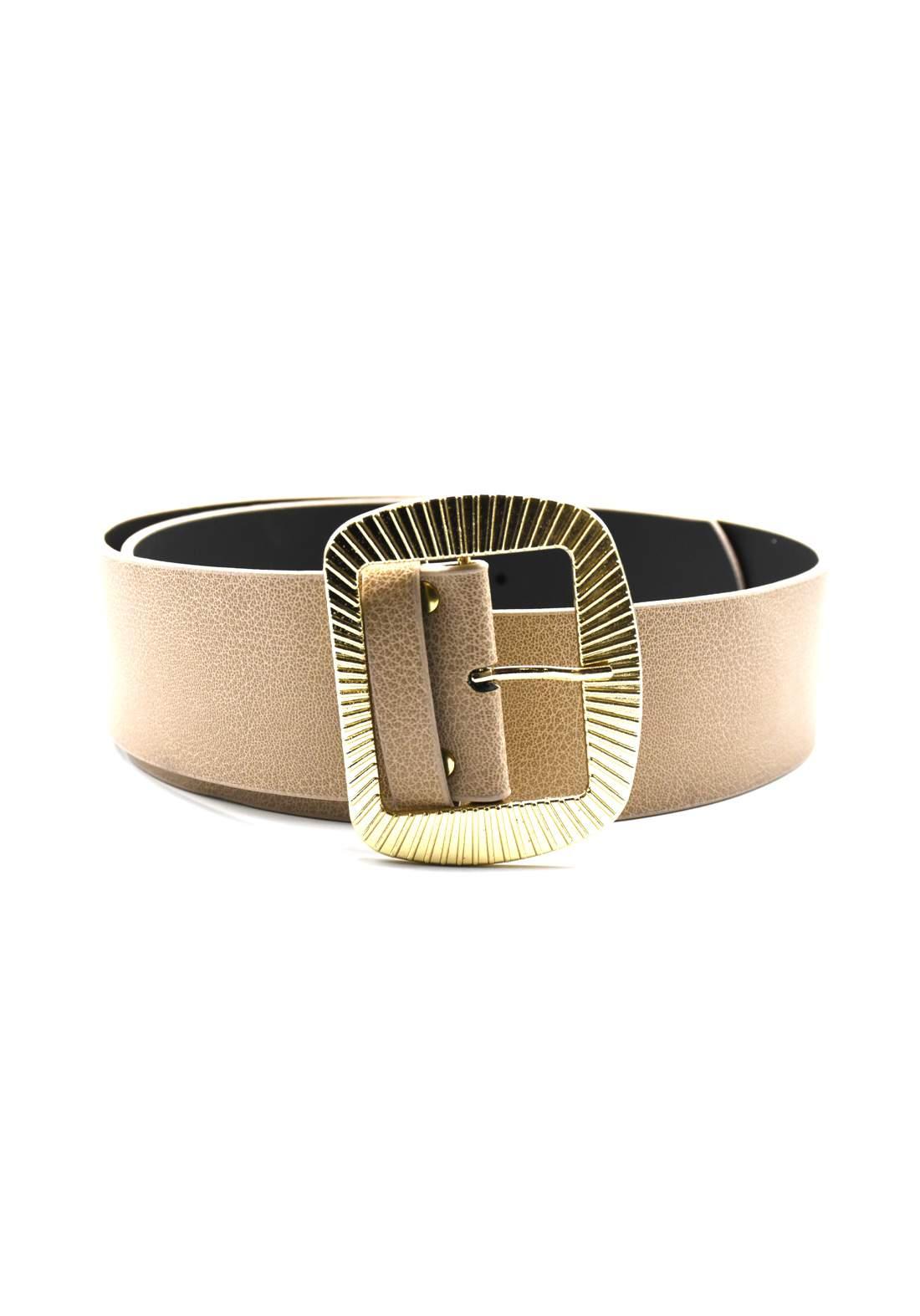 حزام نسائي جلد بيج اللون بأبزيم ذهبي 116 سم