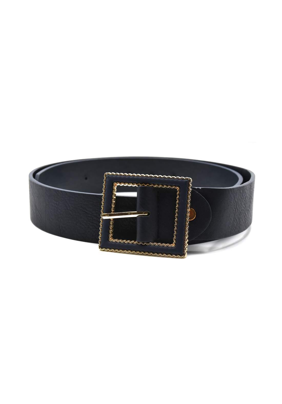 حزام نسائي جلد نيلي اللون بأبزيم ذهبي  116 سم