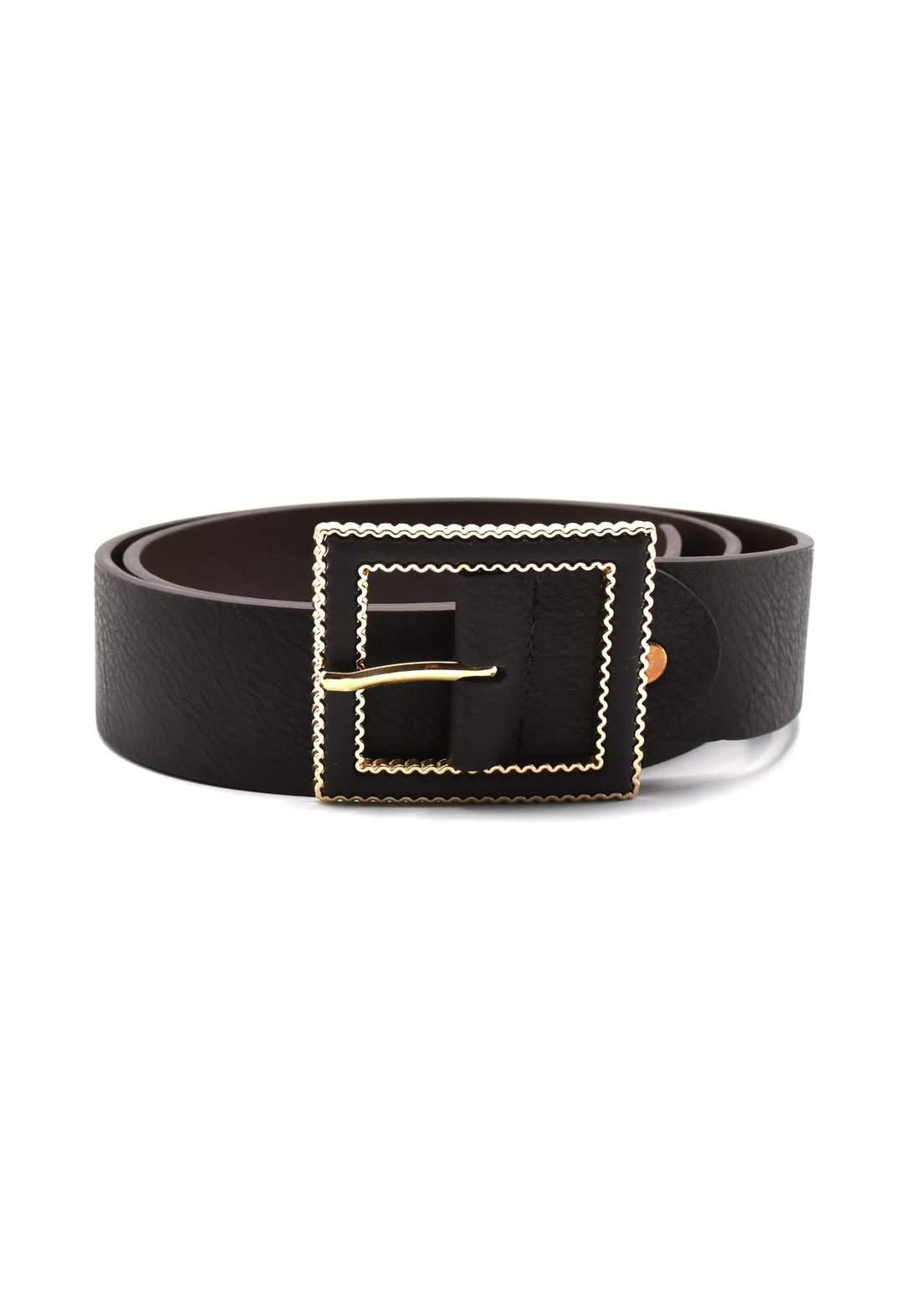 حزام نسائي جلد أسود اللون بأبزيم ذهبي 116 سم