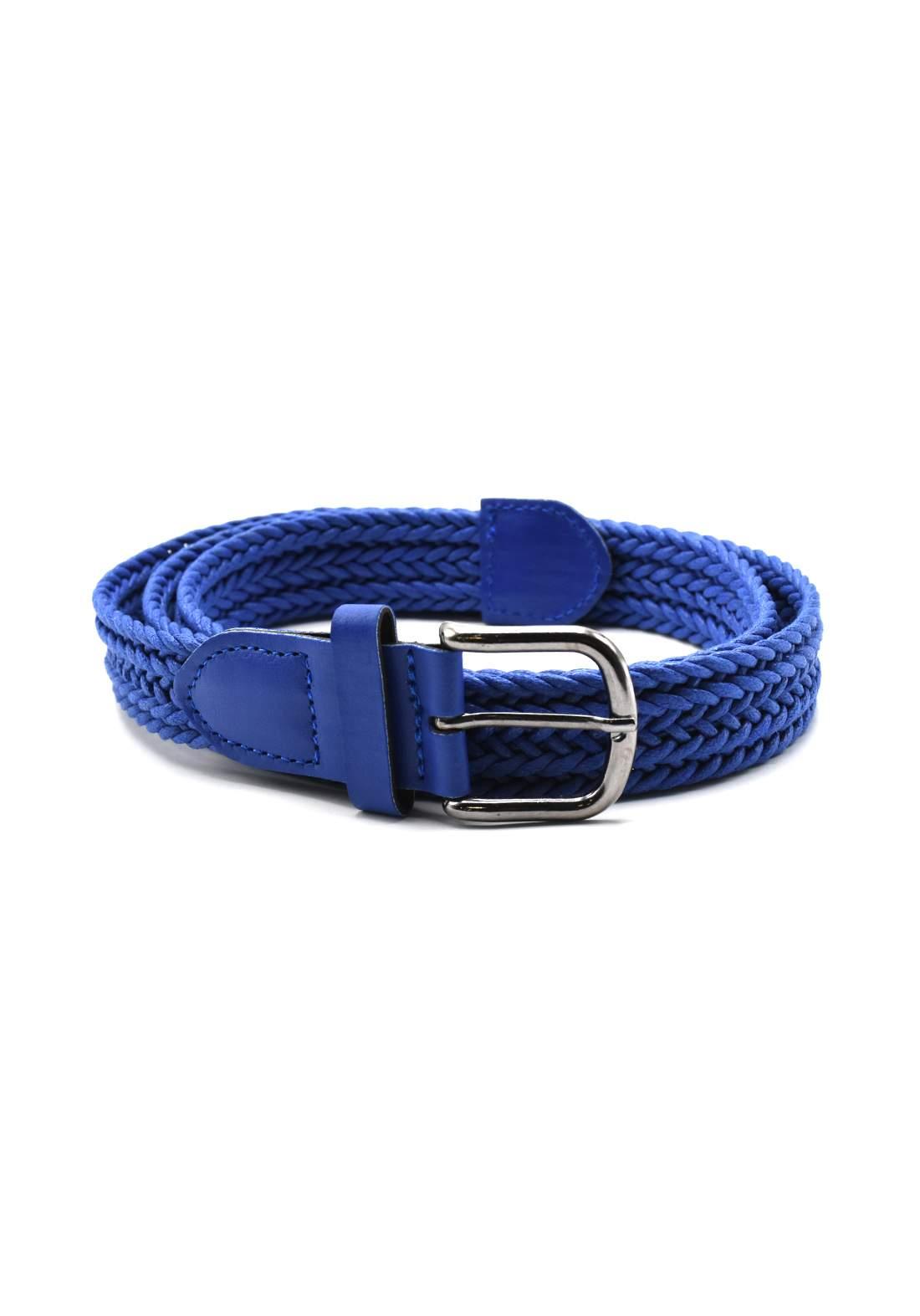 حزام نسائي جلد أزرق اللون بأبزيم فضي 116 سم