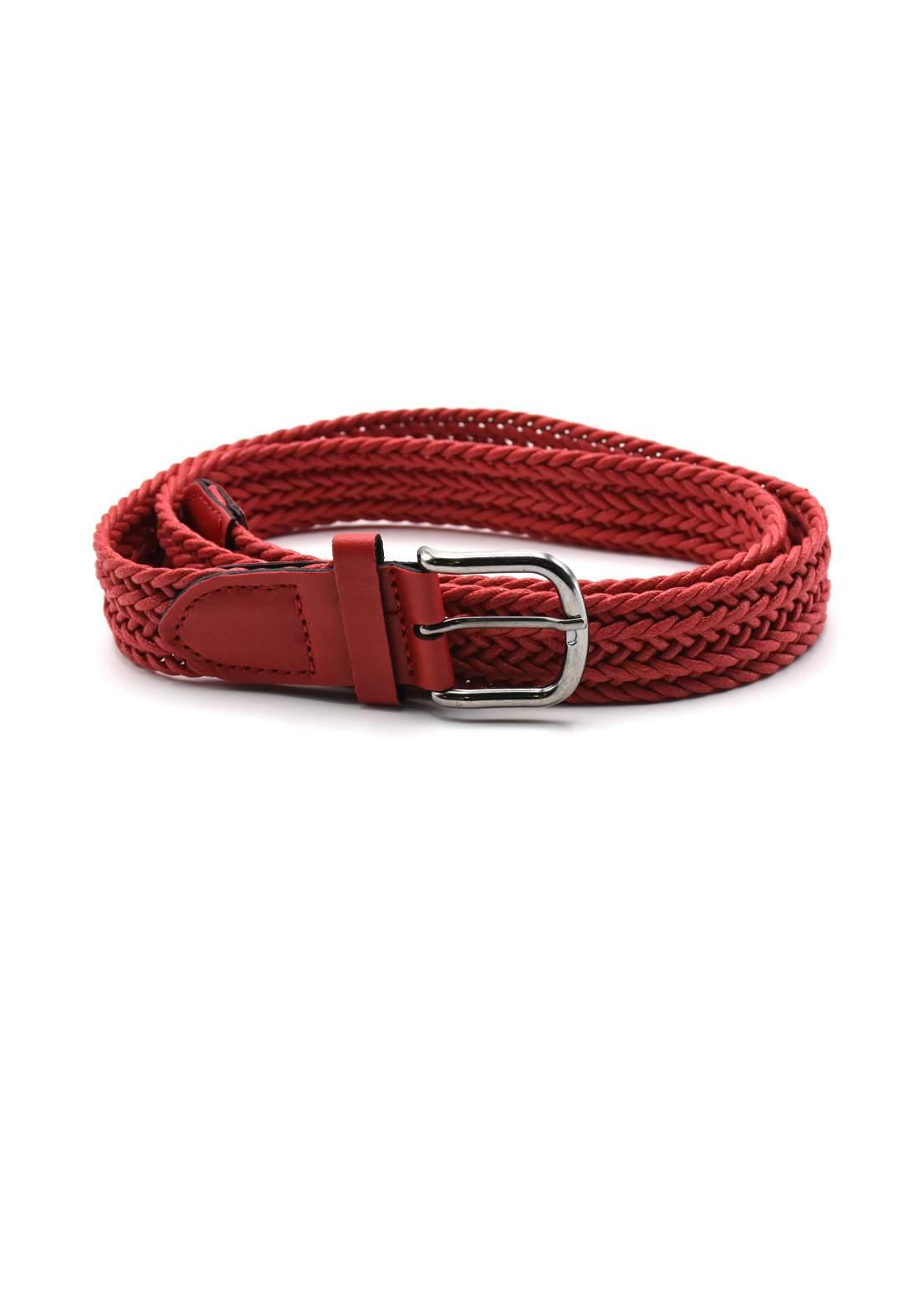 حزام نسائي جلد أحمر اللون بأبزيم فضي 116 سم