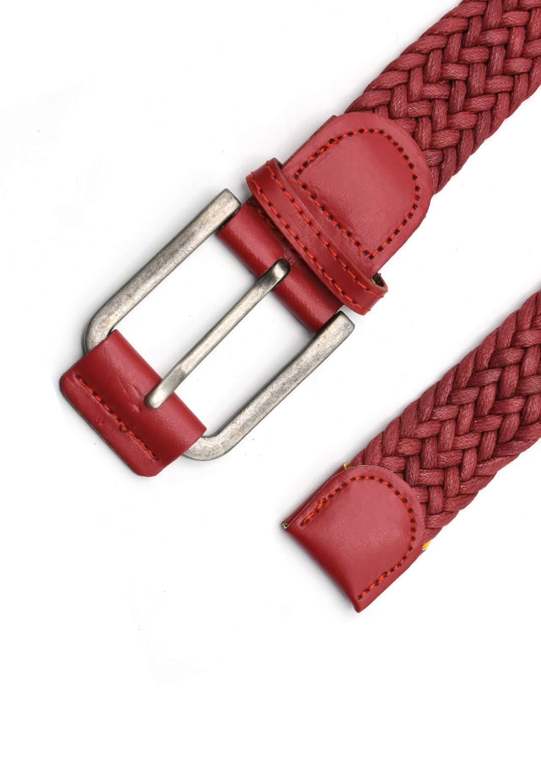 حزام نسائي أحمراللون بأبزيم فضي 116 سم