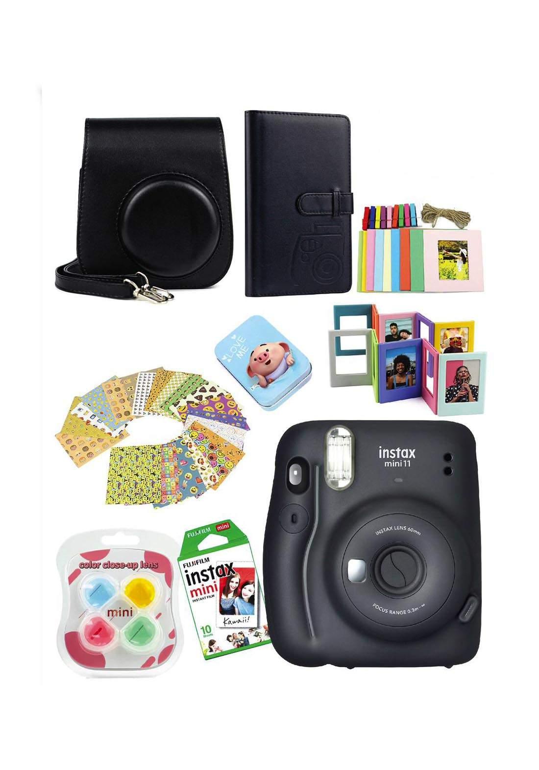 Fujifilm Instax MemoriesPack Mini11 Camera Package - Black كاميرا فورية