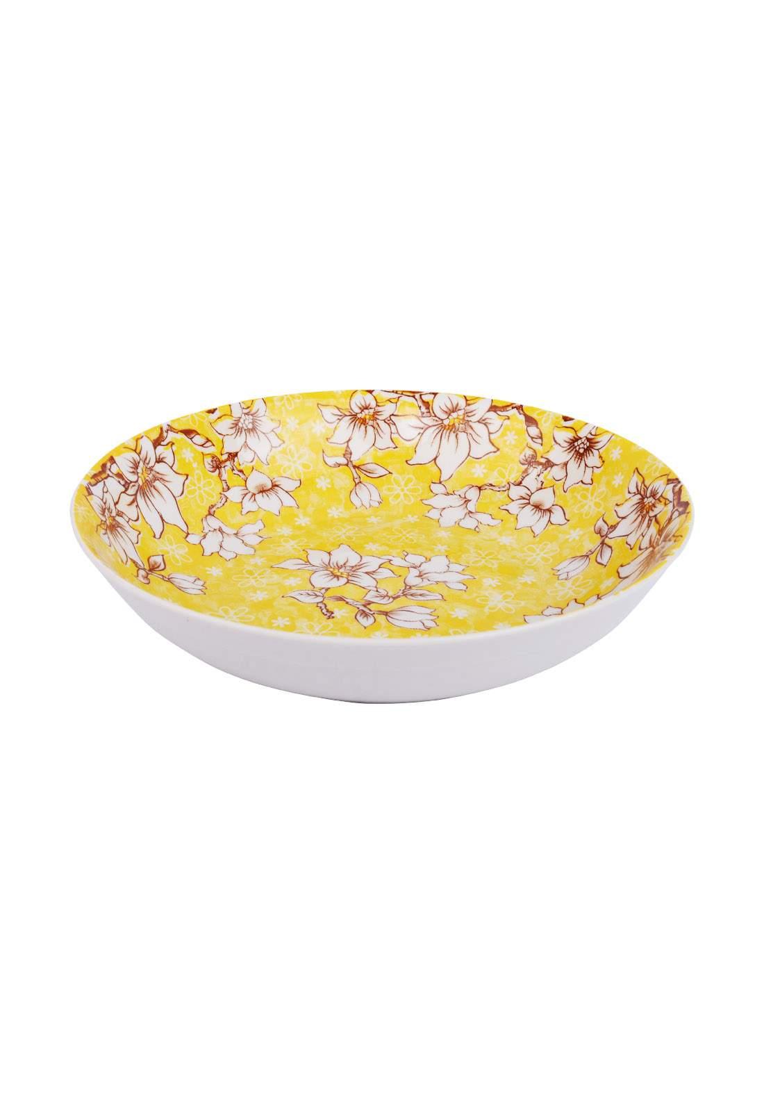 وعاء سيراميك قطعة واحدة اصفر اللون