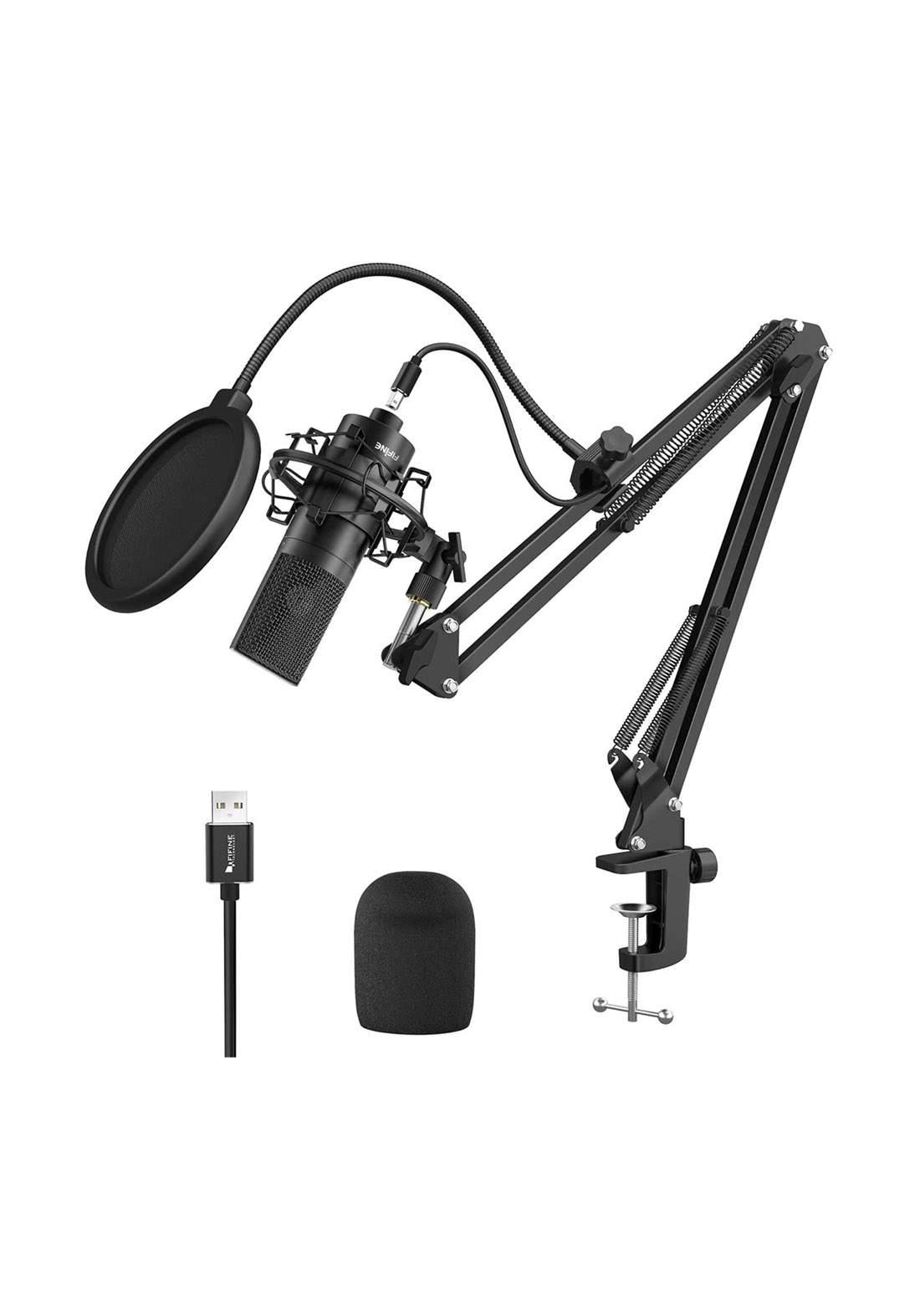Fifine K780 Recording USB Microphone With Arm Stand - Black مايكرفون