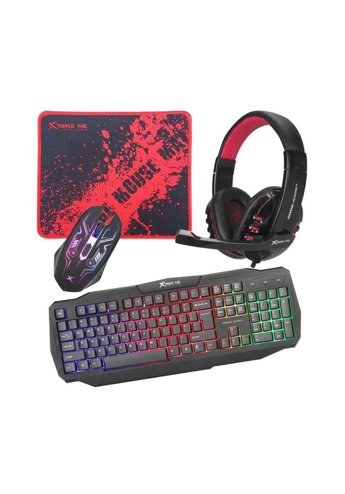 Xtrike Me Cm-406 4 in 1 Multimedia Gaming Keyboard, Headset, Mouse and Mousepad Combo - Black سيت كيبورد ماوس سماعة ولوح ماوس
