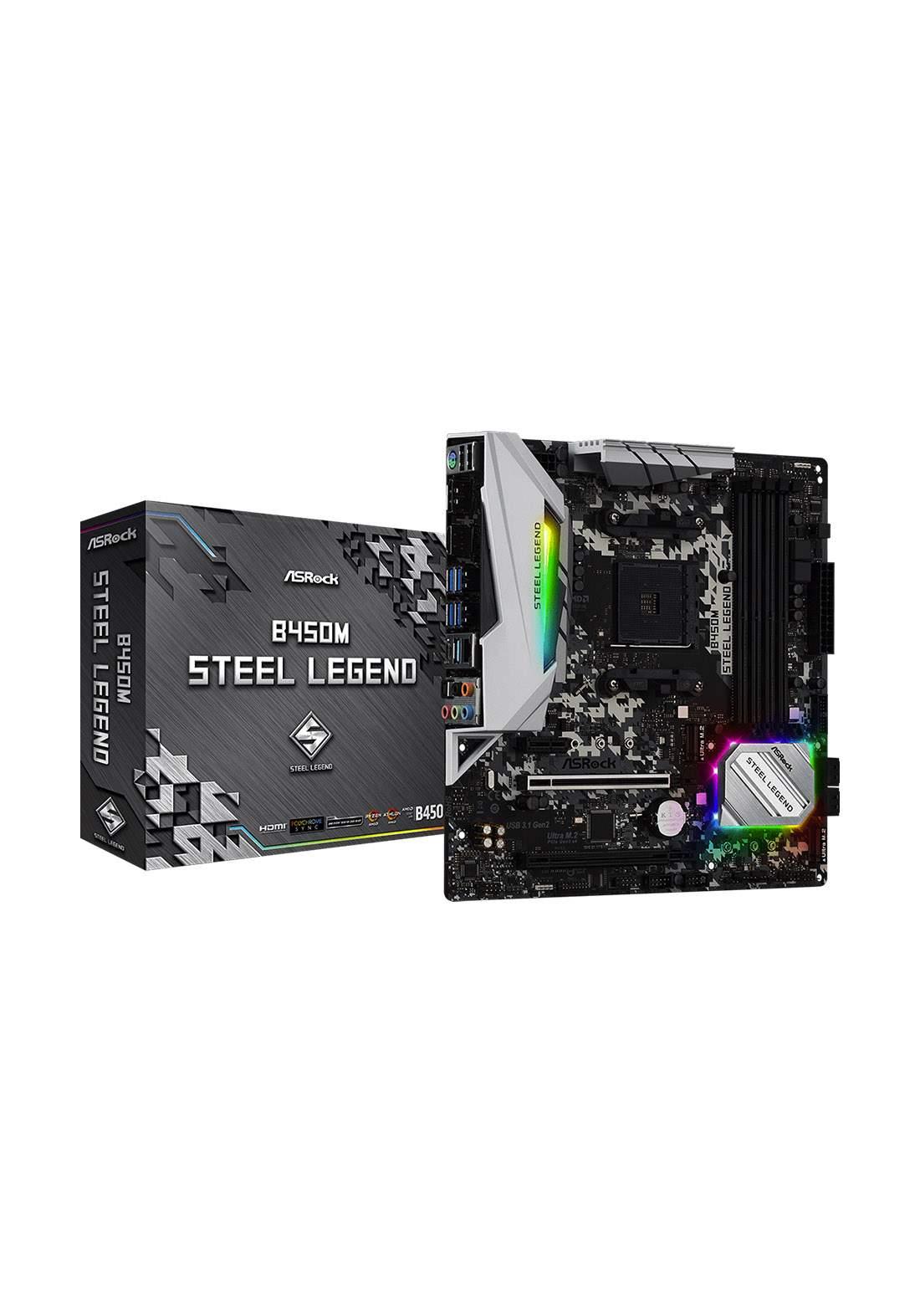 ASRock B450M Steel Legend Motherboard لوحة الام