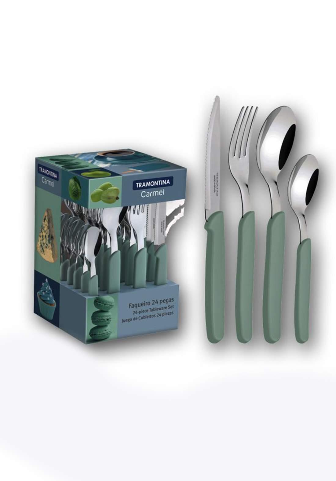 Tramontina '23499-026  Multiply 24 Piece Cutlery Set Green طقم ادوات المطبخ