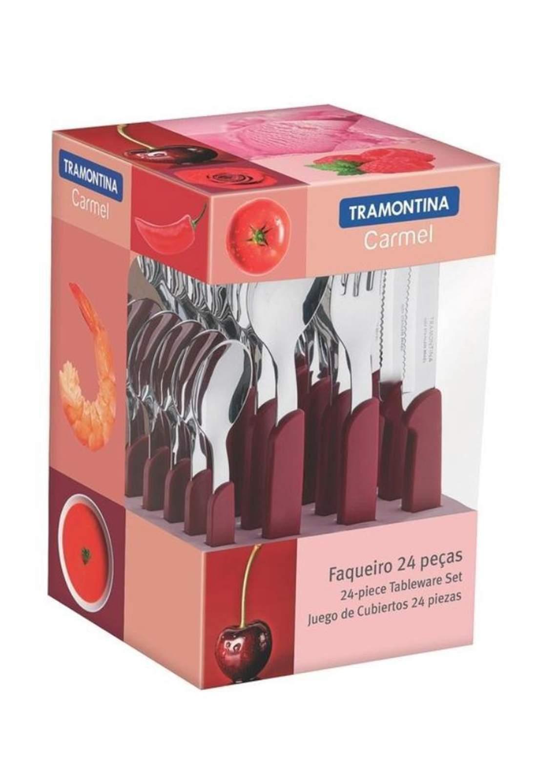 Tramontina '23499-027 Multiply 24 Piece Cutlery Set Red طقم ادوات المطبخ