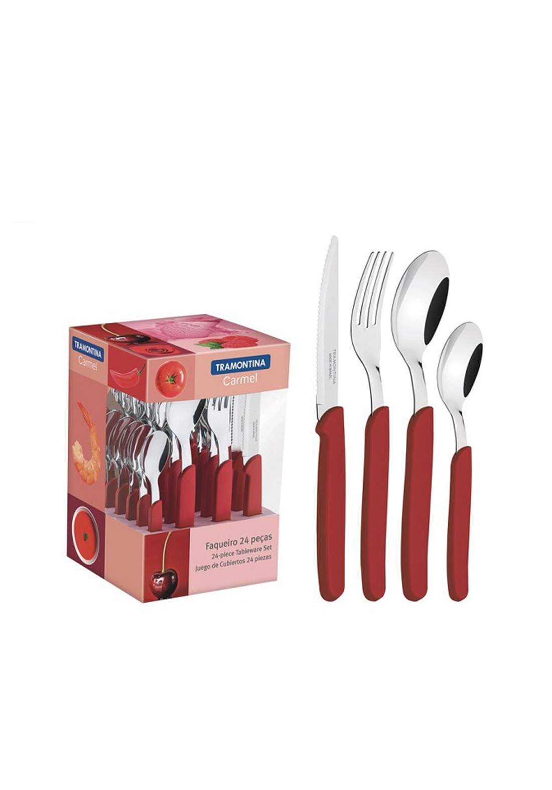Tramontina 23499-028 Multiply 24 Piece Cutlery Set Red طقم ادوات المطبخ