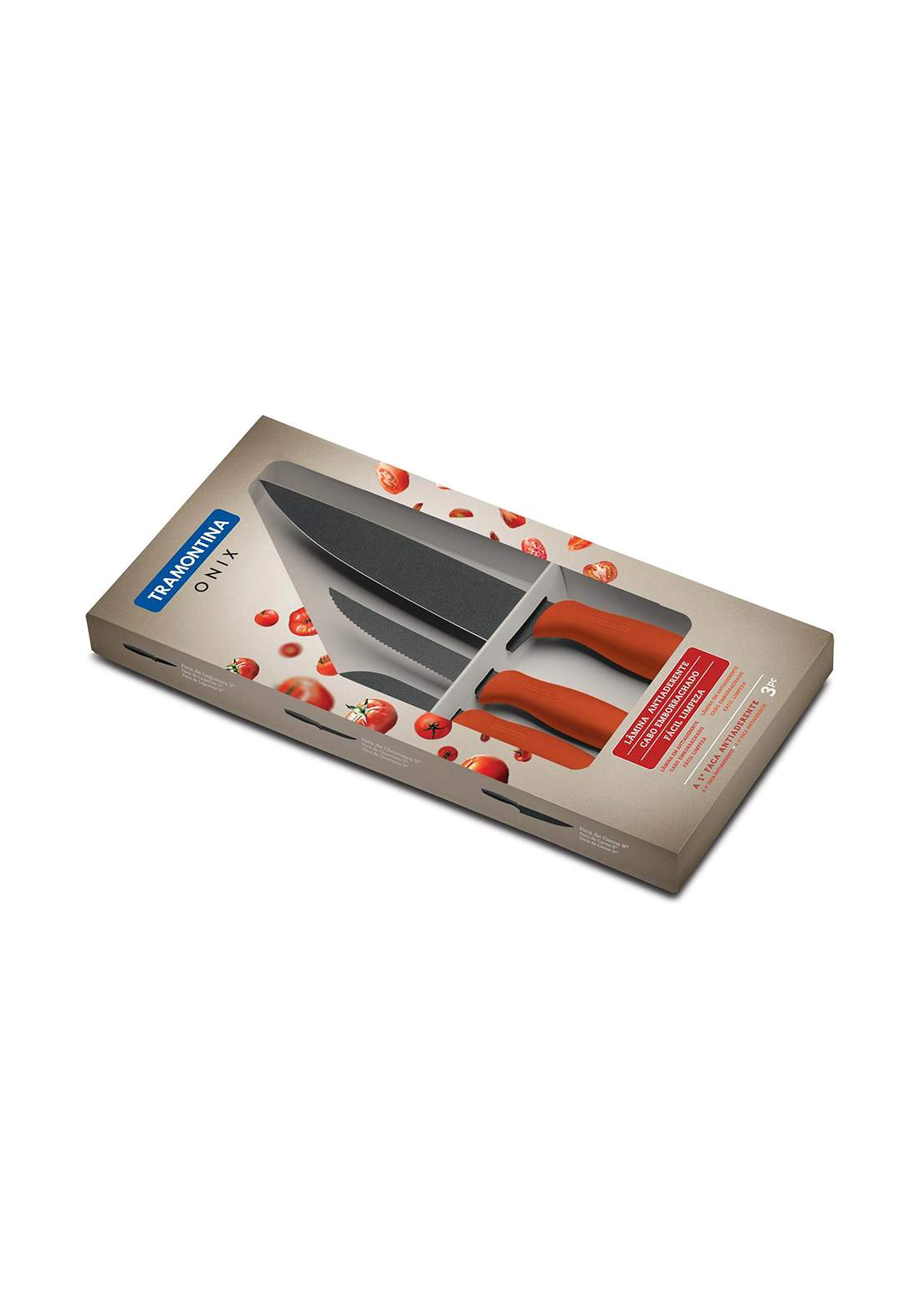 Tramontina 23899-720 Set Of Knives 3 Pcs  Ultracorte Red  سيت سكاكين
