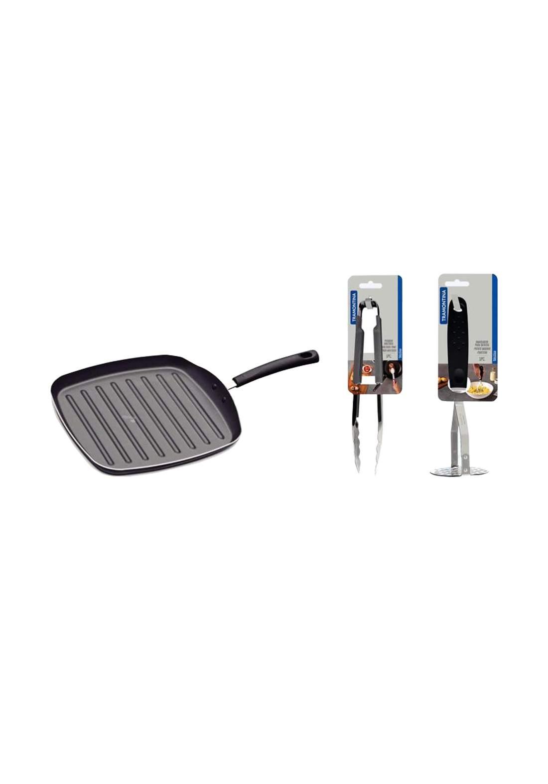 Grill Black عرض مقلاة ستيك 20124-024 + هراسة بطاطس 25655-100 + ملقط شواء  25056/160
