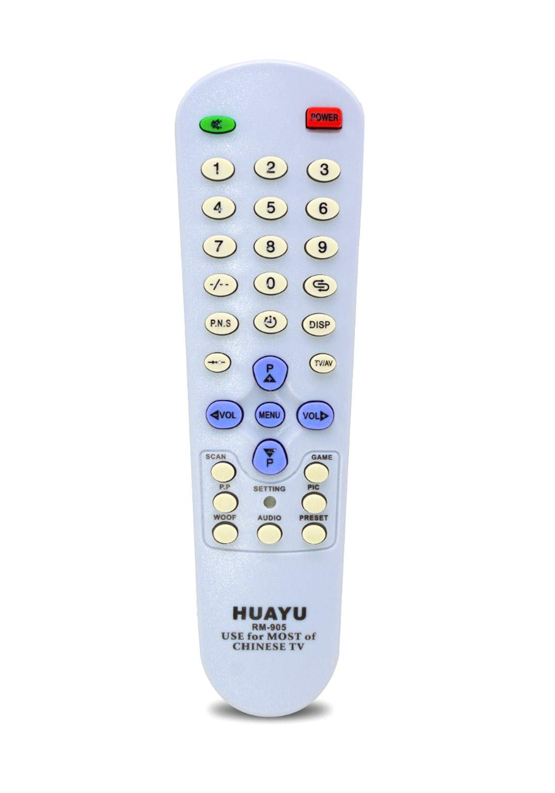 HUAYU Remote Control For Most of Chinese TV  - White جهاز التحكم عن بعد