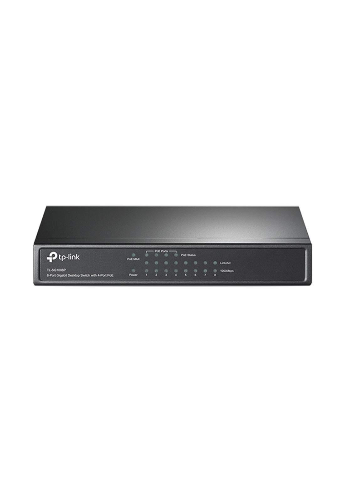 Tp-Link  TL-SG1008P 8-Port Gigabit Desktop Switch with 4-Port PoE - Black