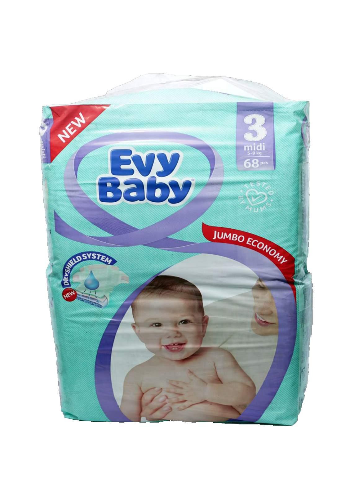 Evy Baby Diapers 3 Midi 5-9 Kg 68 Pcs 3 حفاضات ايفي بيبي للاطفال عادي رقم