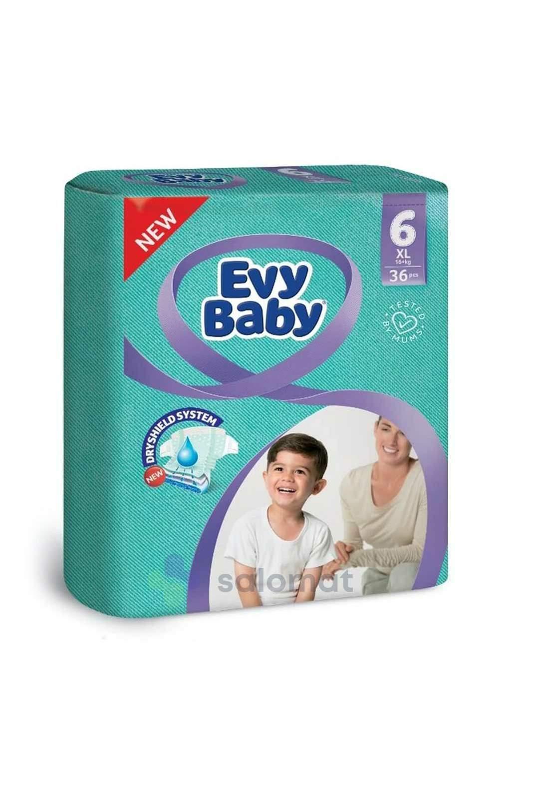 Evy Baby Diapers 6 XL 16+ Kg 36 Pcs 6  حفاضات ايفي بيبي للاطفال عادي رقم