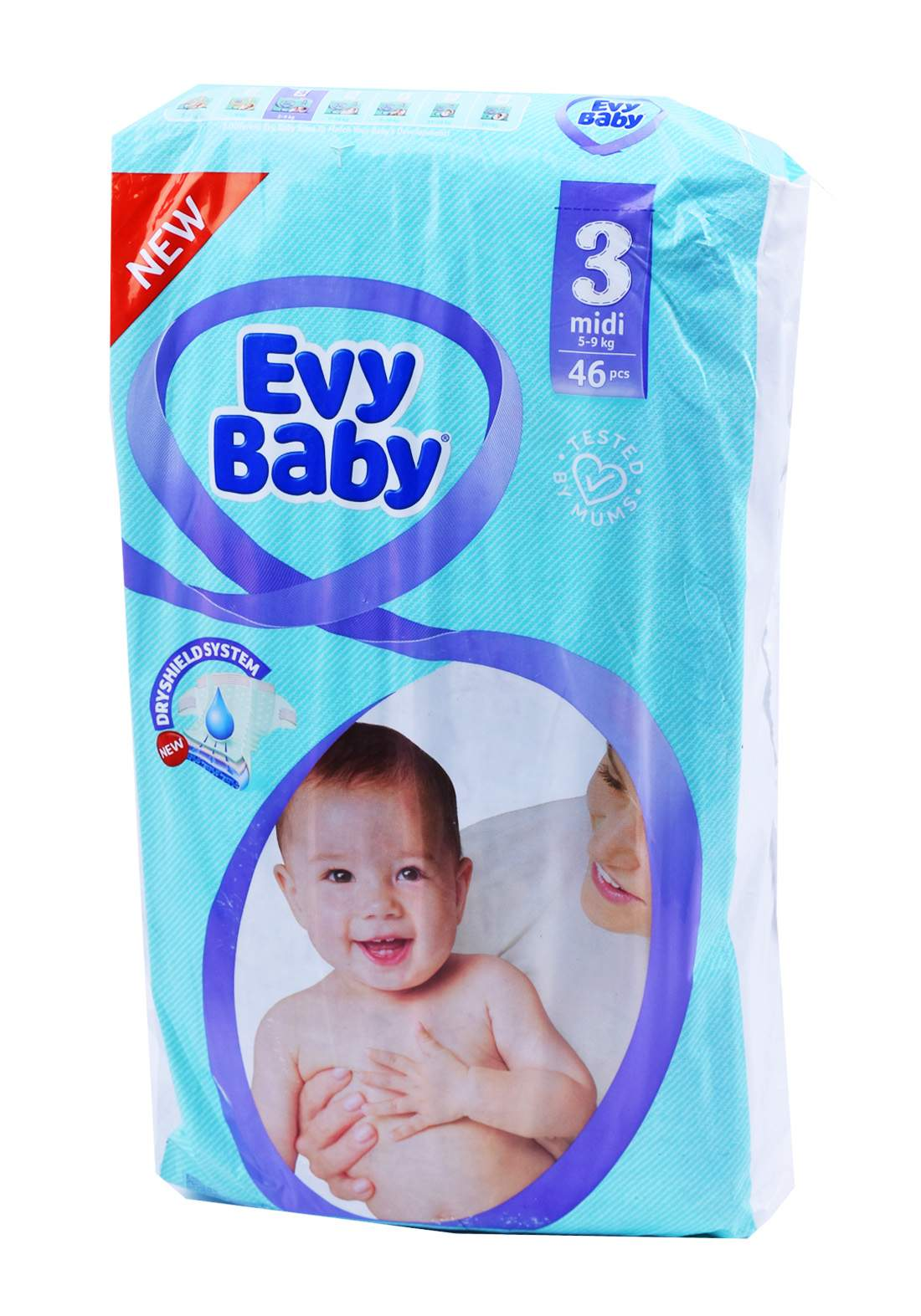 Evy Baby Diapers 3 Midi 5-9 Kg 46 Pcs 3 حفاضات ايفي بيبي للاطفال عادي رقم