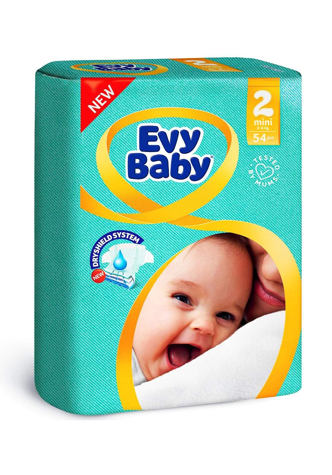 Evy Baby Diapers 2 Mini 3-6 Kg 54 Pcs 2 حفاضات ايفي بيبي للاطفال عادي رقم