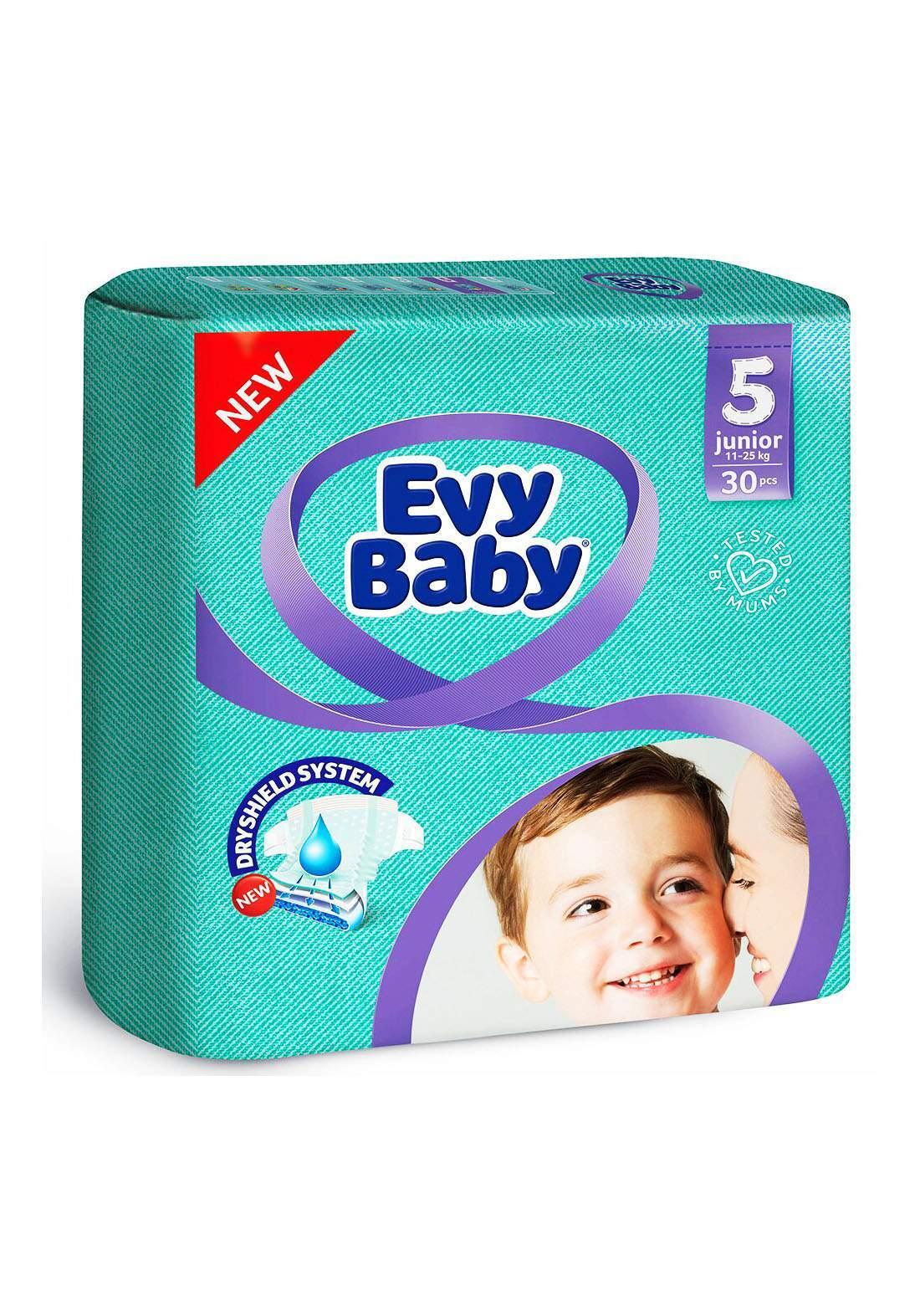 Evy Baby Diapers 5 Junior 11-25 Kg 30 Pcs 5 حفاضات ايفي بيبي للاطفال عادي رقم