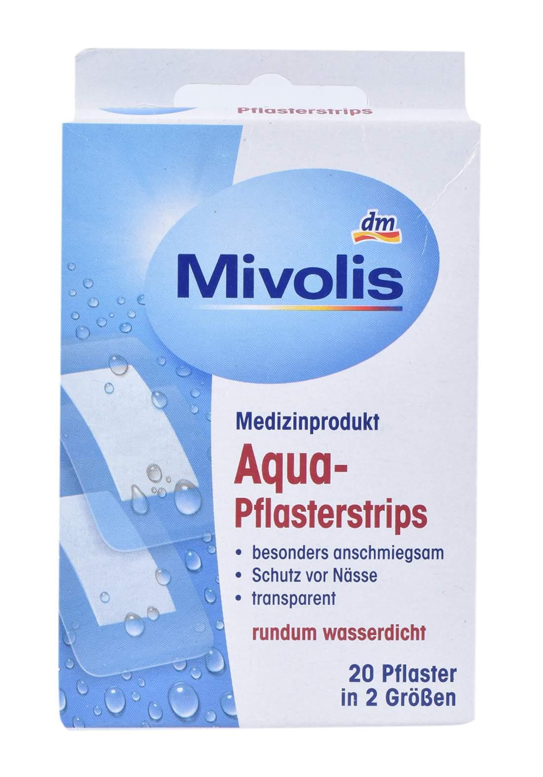Mivolis Waterproof Patches Aqua Transparent 20 Pcs لصقات جروح مضادة للماء